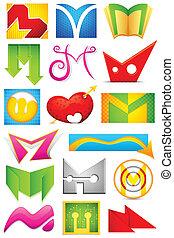 alfabeto, diferente, m, icono