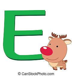 alfabeto, e, animale