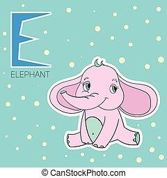 alfabeto, e, bambini, lettera, elefante