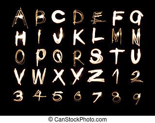 alfabeto, e, números, luz, quadro