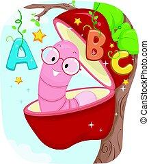 alfabeto, educação, maçã, verme
