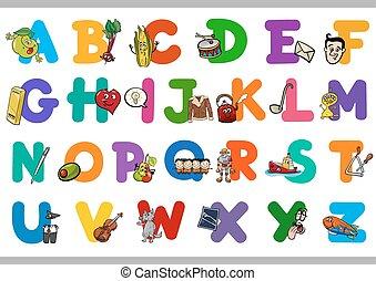 alfabeto, educacional, crianças, caricatura