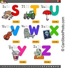 alfabeto, educacional, jogo, caricatura, crianças