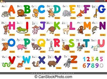 alfabeto, educacional, letras, caricatura, aprendizagem