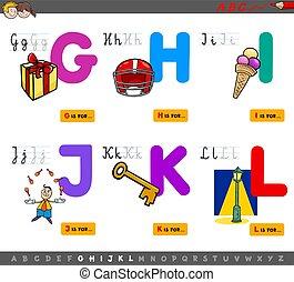 alfabeto, educacional, letras, crianças, caricatura