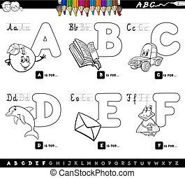 alfabeto, educativo, coloritura, lettere, libro