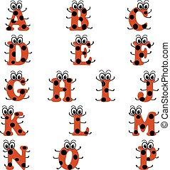 alfabeto, en, mariquita, estilo, en, rojo, y, negro, color