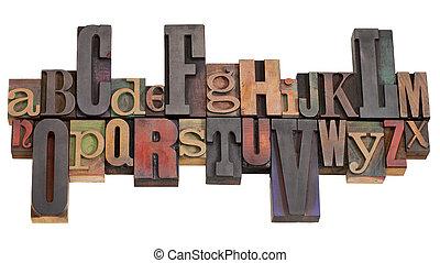 alfabeto, en, texto impreso, imprimir bloquea