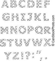alfabeto, escrito, checkered, mão