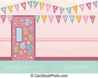 alfabeto, escuela, decoración, pasillo, números