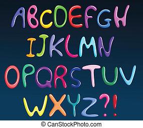 alfabeto, espaguetis, colorido