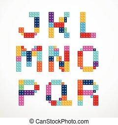 alfabeto, estilo, blocos, set.