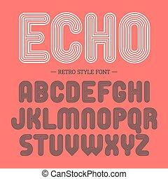 alfabeto, estilo, fuente, retro