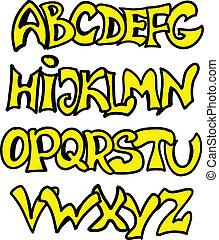alfabeto, estilo, graffiti, inglês