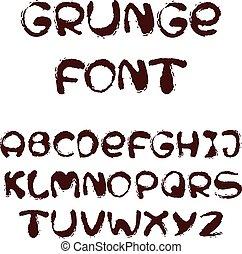 alfabeto, estilo, grunge, inglês