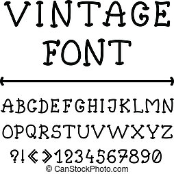 alfabeto, estilo, inglês, vindima