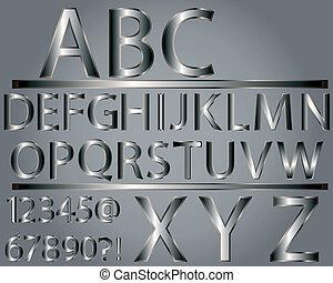 alfabeto, estilo, metálico