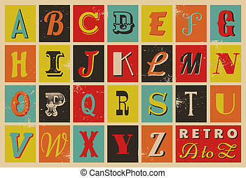 alfabeto, estilo, retro