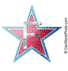 alfabeto, estrela, f