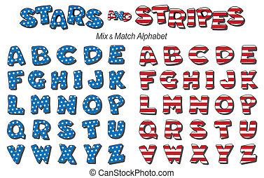alfabeto, estrellas, rayas