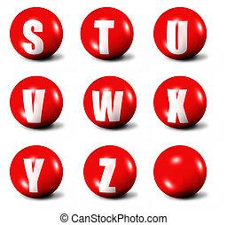 alfabeto, fatto, 3d, rosso, sfere
