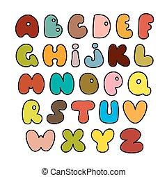 alfabeto, feito, desenhado, vector., mão