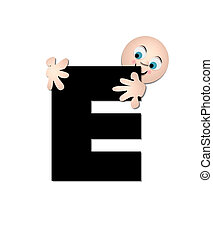 alfabeto, feliz, e
