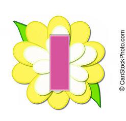 alfabeto, flor, alfinete, amarela