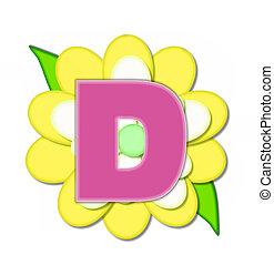 alfabeto, flor, alfinete, amarela, d