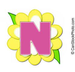 alfabeto, flor, alfinete, amarela, n