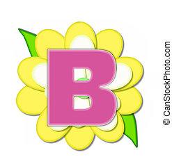 alfabeto, flor, b, alfinete, amarela