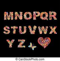 alfabeto, flor, coloridos, engraçado