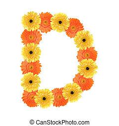 alfabeto, flor, d, criado