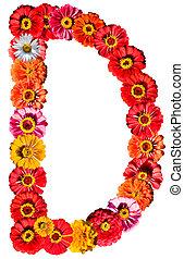 alfabeto, flor, -, d