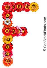 alfabeto, flor, -, f