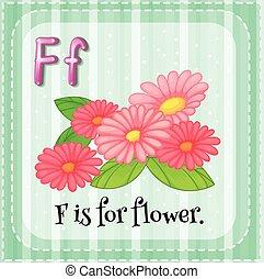 alfabeto, flor, f