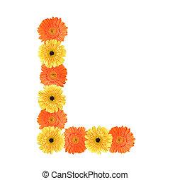 alfabeto, flor, l, criado