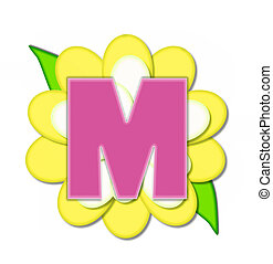 alfabeto, flor, m, alfinete, amarela