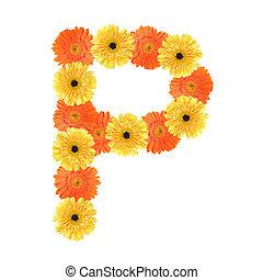 alfabeto, flor, p, criado