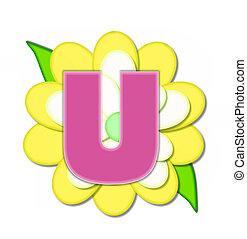 alfabeto, flor, u, alfinete, amarela