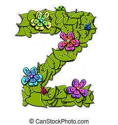 alfabeto, flor, z, videiras