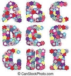 alfabeto, flores brancas