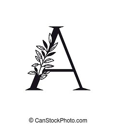 alfabeto, foglie, lettera