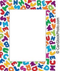 alfabeto, fondo blanco, marco