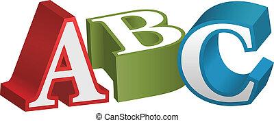 alfabeto, font, lettere, abc, insegnamento