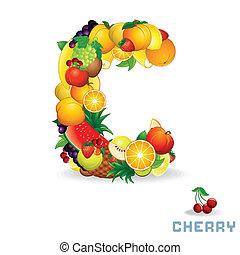 alfabeto, fruit., c, lettera