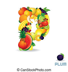 alfabeto, fruit., lettera p