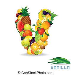 alfabeto, fruit., lettera, v