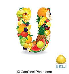 alfabeto, fruit., vector, u, carta