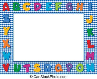 alfabeto, gingham, quadro